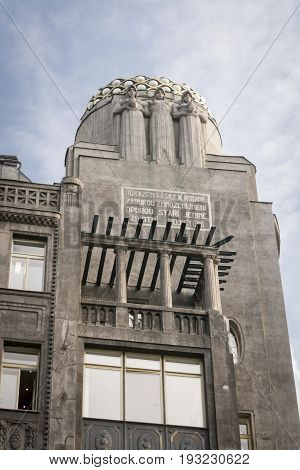 PRAGUE CZECH REPUBLIC 7 OCTOBER 2015 - Art-deco building in Prague Czech Republic the general electric building originally the rca victor building