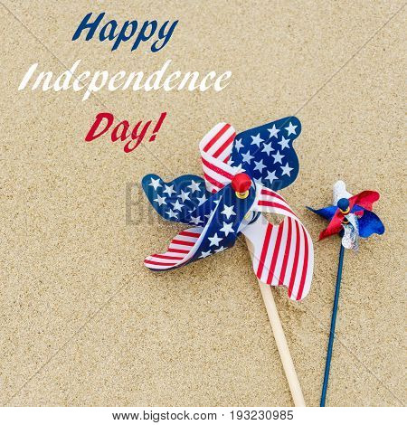 Independence USA background on the sandy beach near ocean square format