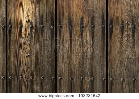 Old vintage wood plank board with nails old traditional Japanese style
