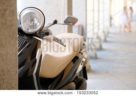 PADOVA, ITALY - June, 22, 2017: motorcycle parked in a center of Padova, Italy