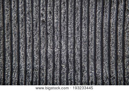 Polyester fabric with geometric minimalistic volume pattern of gray lines.