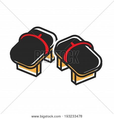 Vector illustration of traditional black asian shoes with wooden sole.