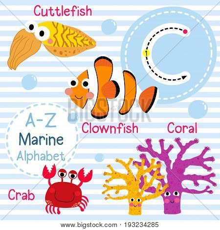 Cute children sea alphabet flashcard of funny marine animal cartoon C letter tracing for kids learning English vocabulary vector illustration.