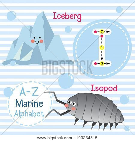 Cute children sea alphabet flashcard of funny marine animal cartoon I letter tracing for kids learning English vocabulary vector illustration.