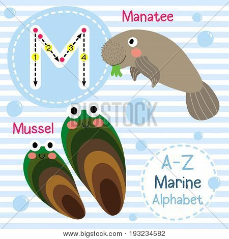 Cute children sea alphabet flashcard of funny marine animal cartoon M letter tracing for kids learning English vocabulary vector illustration.