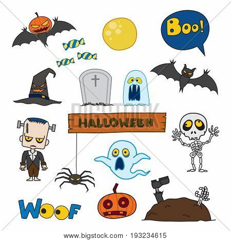 Vector set of characters and icons for Halloween in cartoon style. Pumpkin ghost candy Frankenstein Skeleton and other traditional elements of Halloween. Children in costumes for Halloween.