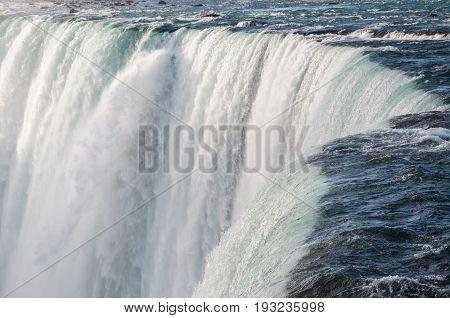Niagara Falls, Canadian Horseshoe Fall close-up. Natural landmark, Ontario, Canada