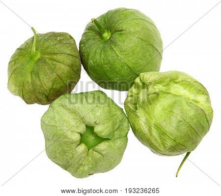 Raw Tomatillos in Husk isolated over white.