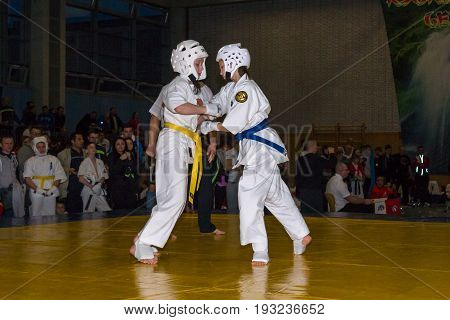 BERLIN - MARCH 18 2017: Fighters on the tatami. European championship Kyokushin World Union (KWU) for Children and Youth.
