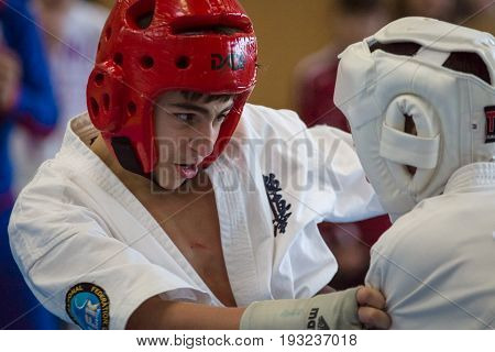 BERLIN - MARCH 18 2017: Fighters on the tatami close-up. European championship Kyokushin World Union (KWU) for Children and Youth.