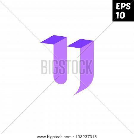 Initial letter U lowercase logo design template block violet purple