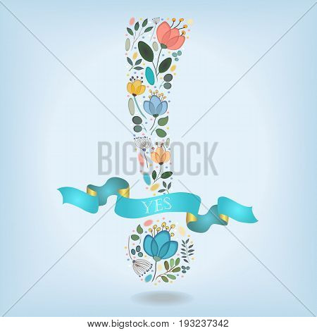 Floral Romantic Exclamation Point . Watercolor graceful flowers plants and blurs. Blue ribbon with golden back and white text. Vector Illustration