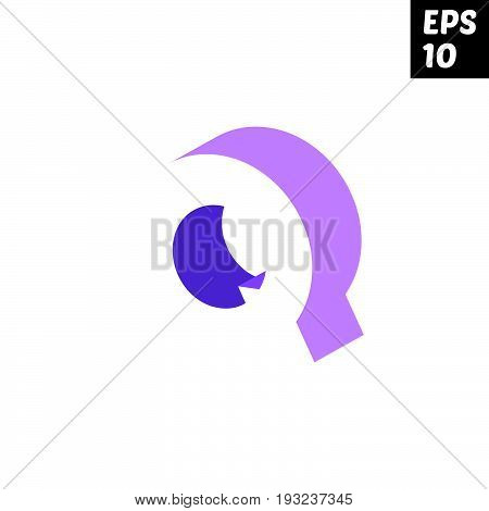 Initial letter Q lowercase logo design template block violet purple