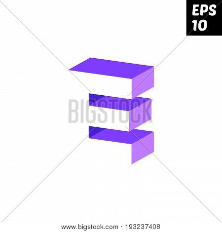 Initial letter E lowercase logo design template block violet purple