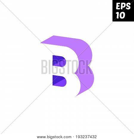 Initial letter B lowercase logo design template block violet purple