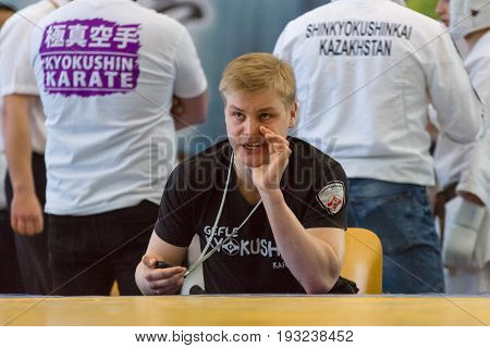 BERLIN - MARCH 18 2017: Emotional coach. European championship Kyokushin World Union (KWU) for Children and Youth.
