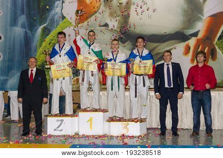 BERLIN - MARCH 18 2017: Winners of the competition! European championship Kyokushin World Union (KWU) for Children and Youth.