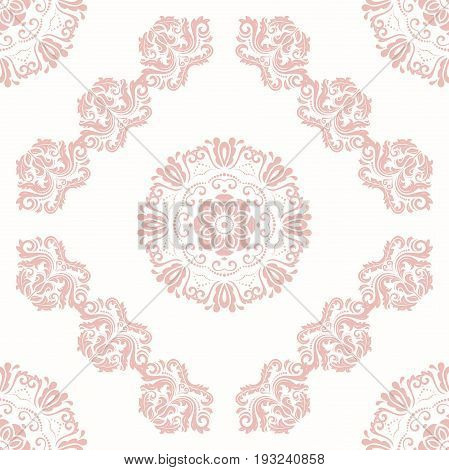 Oriental classic pink pattern. Seamless abstract background with repeating elements. Orient background