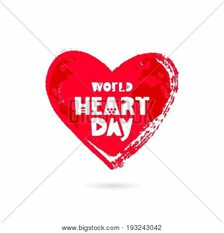 World Heart Day. 29 September. Vector illustration on white background. Excellent holiday gift card. Lettering. Big red heart.