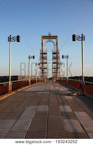 Modern footbridge in Kaunas, Lithuania.