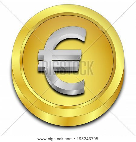 golden Button with Euro sign - 3D illustration