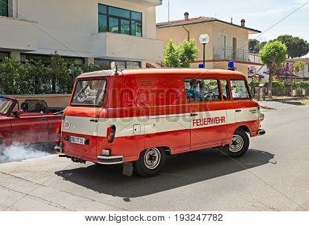 CESENATICO, FC, ITALY: driver on a van former Fire Department Barkas B 1000 (GDR 1988) in