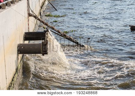 Sewer Drain Pipe, Waste Water Into Chaopraya River Thailand.