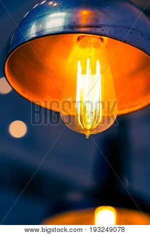 Tungsten lamp bulb old vintage design style.