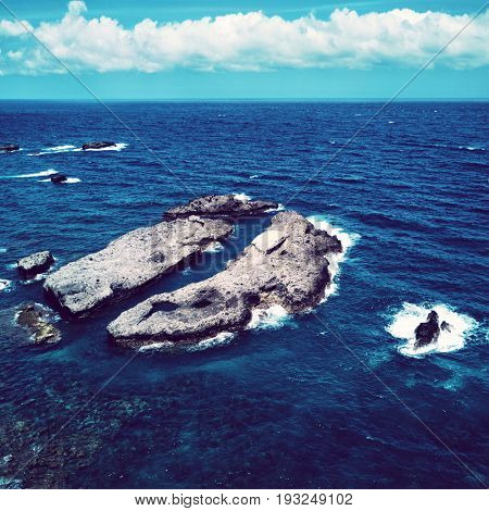 Aerial view of rocks in the sea. Taiwan 2017
