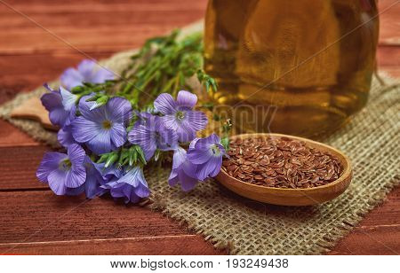 Flax Seeds In Wooden Spoon,  Linum Plants With Flower And Linseed Oil On Glass Bottle  With Vintage