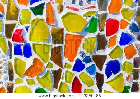 Colorful glass for background temple wall decoration.