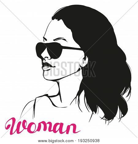 girl in sunglasses , beautiful woman face vector illustration sketch