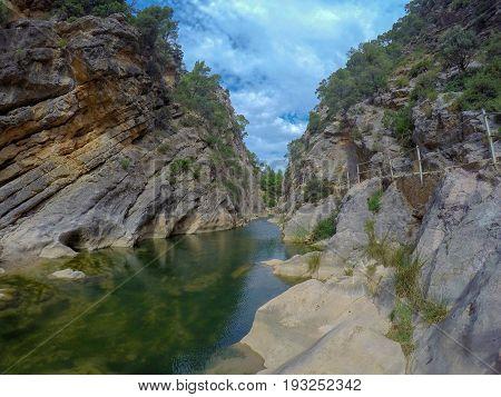 The Canaletas river as it passes through the Balneario de la Fontcalda, in Terra Alta