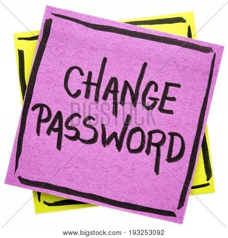 change password reminder - handwriting on an isolated sticky note