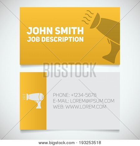 Business card print template with hair dryer logo. Hairdresser. Stylist. Stationery design concept. Vector illustration