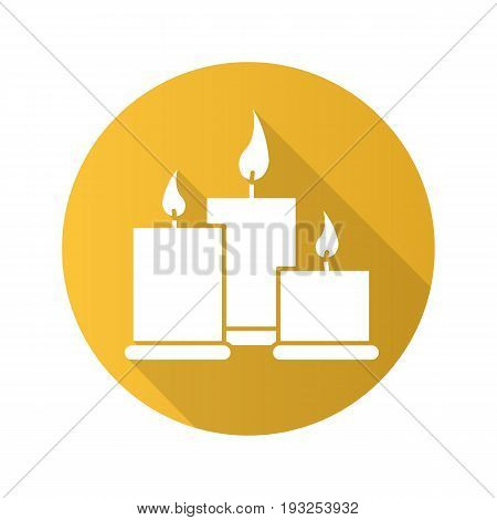 Spa salon candles flat design long shadow glyph icon. Aromatherapy. Vector silhouette illustration