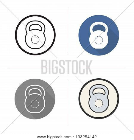 Gym kettlebell icon. Flat design, linear and color styles. Isolated vector illustrations