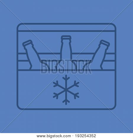 Portable refrigerator color linear icon. Portable fridge with beer bottles. Thin line outline symbols on color background. Vector illustration