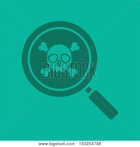 Magnifying glass with skull and crossbones glyph color icon. Virus research. Silhouette symbol. Search. Negative space. Vector isolated illustration