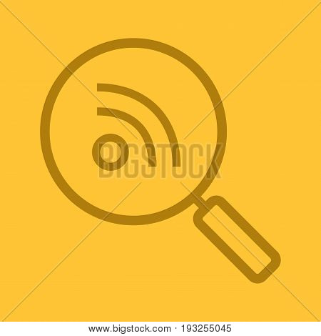Rss feed search color linear icon. Magnifying glass. Thin line outline symbols on color background. Vector illustration
