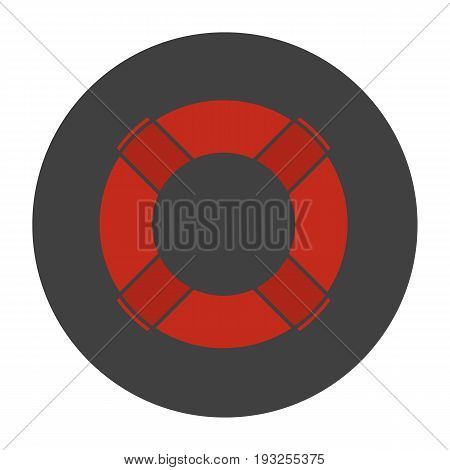 Life ring glyph color icon. Life buoy. Silhouette symbol on black background. Negative space. Vector illustration
