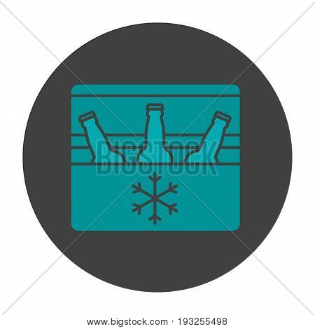 Portable refrigerator glyph color icon. Silhouette symbol. Portable fridge with beer bottles. Negative space. Vector isolated illustration