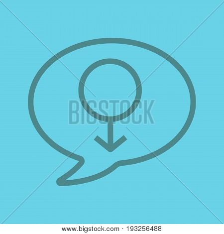 Men's consultation color linear icon. Chat box with men gender sign inside. Thin line outline symbols on color background. Vector illustration