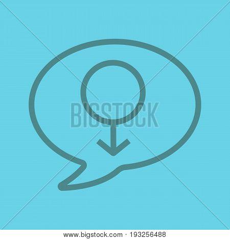 Men's consultation color linear icon. Chat box with men gender sign inside. Thin line outline symbols on color background. Vector illustration