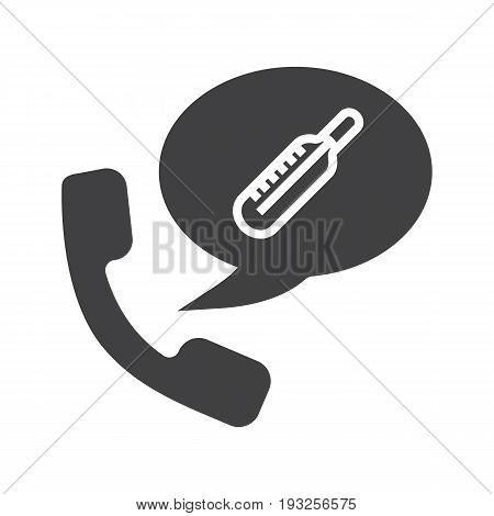 Phone call to hospital glyph icon. Silhouette symbol. Handset with thermometer inside speech bubble. Negative space. Vector isolated illustration