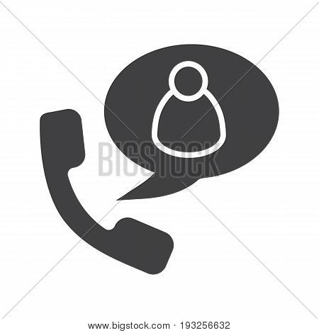 Phone talk with user glyph icon. Silhouette symbol. Handset with man figure inside speech bubble. Negative space. Vector isolated illustration