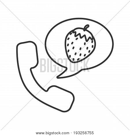 Phone sex linear icon. Thin line illustration. Handset with strawberry inside speech bubble. Contour symbol. Vector isolated outline drawing