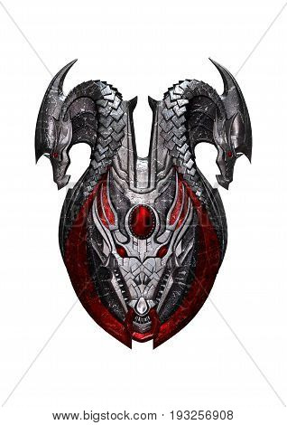 3D Rendering Dragon Shield On White