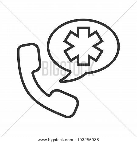 Emergency phone call to hospital. Linear icon. Thin line illustration. Handset with star of life inside speech bubble. Contour symbol. Vector isolated outline drawing