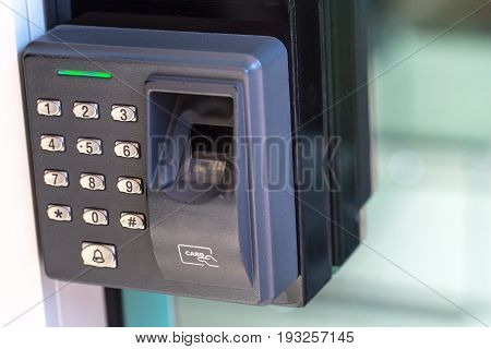 finger scan security door key lock with number key pad.